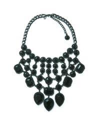 Zara | Metallic Gothicstyle Rhinestone Necklace | Lyst