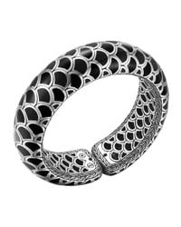 John Hardy | Metallic Naga Silver Enamel Scale Cuff With Black Enamel | Lyst