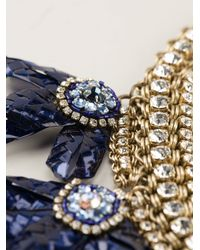 Sveva Collection - Blue Embellished Chunky Necklace - Lyst