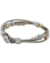 Fossil Gray Multistrand Beaded Wrist Wrap Bracelet