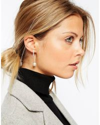 ASOS Metallic Sterling Silver Faux Pearl And Bar Through Earrings