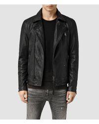 AllSaints | Black Battery Leather Biker Jacket for Men | Lyst