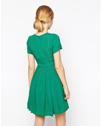ASOS - Green Premium Skater Dress With Embroidery And Lace - Lyst