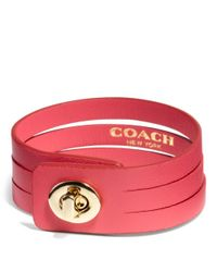 COACH - Red Bunched Leather Small Turnlock Bracelet - Lyst
