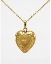 Lord & Taylor | Metallic 14 Kt. Gold Diamond Heart Locket Necklace | Lyst