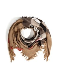 Burberry Brit | Natural Merino Wool Check Print Fringe Scarf | Lyst