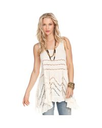 Free People   Natural Sleeveless Printed Trapeze Dress   Lyst
