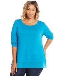 Style & Co. | Blue Plus Size Three-quarter-sleeve Chiffon-hem Top | Lyst