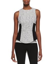 Tibi | Black Sleeveless Tweed Colorblock Top | Lyst