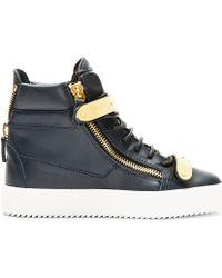 Giuseppe Zanotti | Blue Navy Leather Maylon High-top Sneakers | Lyst