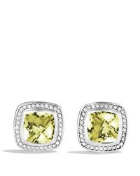David Yurman Metallic Albion Earrings With Lemon Citrine & Diamonds