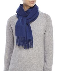 Portolano | Blue Solid Cashmere Fringe Scarf | Lyst