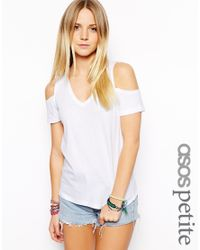 ASOS White Exclusive V-Neck T-Shirt With Cold Shoulder