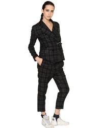 Golden Goose Deluxe Brand Black Plaid Wool Blend Flannel Jacket for men