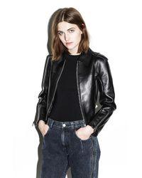 3.1 Phillip Lim | Black Ruffle-hem Leather Jacket | Lyst