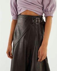 3.1 Phillip Lim Black Belted Leather Skirt