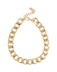River Island - Metallic Gold Tone Chunky Curb Chain Necklace - Lyst