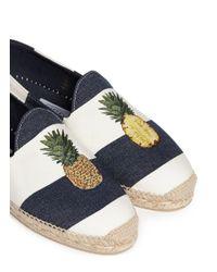 Stubbs & Wootton Blue Pineapple Embroidery Stripe Canvas Espadrilles