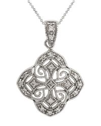 Lord & Taylor - Metallic Sterling Silver Antique Pendant Necklace - Lyst