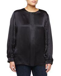 Stella McCartney - Black Pleated-sleeve Silk Shirt - Lyst