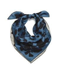 Burberry Blue Reversible Animal Print Silk Square Scarf