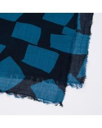 Paul Smith - Petrol Blue 'Abstract Checkerboard' Print Scarf for Men - Lyst