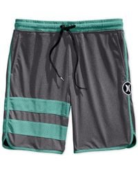Hurley Gray Dri-fit Scalloped Volley Shorts for men