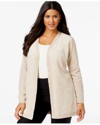 Calvin Klein | Natural Plus Size Faux-suede-front Sweater Jacket | Lyst