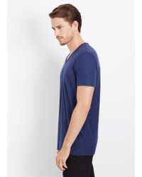 Vince - Blue Linen V-neck Tee for Men - Lyst