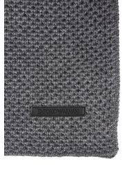 Emporio Armani Gray Wool Blend Knit Scarf for men