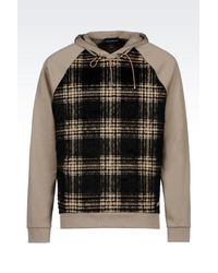 Emporio Armani | Natural Hooded Sweatshirt With Check Pattern for Men | Lyst