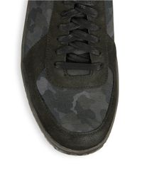 John Varvatos | Black Hattan Suede-trimmed Trainer Sneakers for Men | Lyst