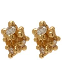Ruth Tomlinson Metallic Yellow Gold White Diamond Granule Stud Earrings