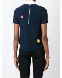 Mira Mikati - Blue Embroidered Detail T-shirt - Lyst