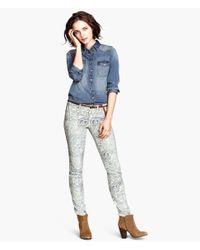 H&M - Blue Slimfit Twill Trousers - Lyst