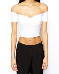 ASOS - White Crop Top In Textured Fabric With Bardot Sleeves - Lyst