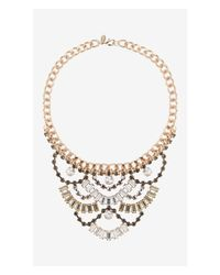 Express - Multicolor Tiered Baguette Stone Bib Necklace - Lyst