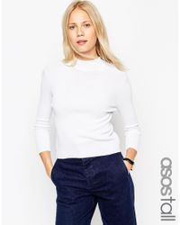 ASOS | White Baby Rib Jumper With Turtle Neck In Structured Knit | Lyst