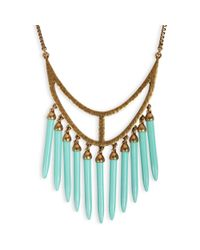 Lucky Brand - Blue Goldtone Turquoise Spike Long Necklace - Lyst