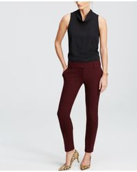 Ann Taylor | Red Double Cloth Ankle Pants | Lyst