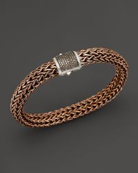 John Hardy - Men'S Classic Chain Sterling Silver And Bronze Large Chain Bracelet With Brown Pavé Diamonds for Men - Lyst