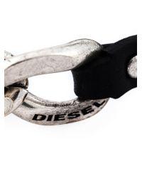 DIESEL - Black Chain Detail Bracelet for Men - Lyst
