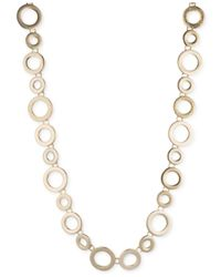 Anne Klein | Metallic Gold-tone Stylized Circle Necklace | Lyst