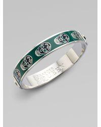 Alexander McQueen - Green Enamel Skull Small Bangle Bracelet - Lyst