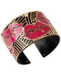 Betsey Johnson | Gold-Tone Layered Cutout Lips Cuff Bracelet | Lyst