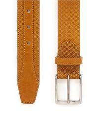 Canali Brown Logo Embossed Leather Belt for men