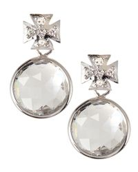 Elizabeth Showers | Metallic Maltese Cross Quartz & Sapphire Drop Earrings | Lyst