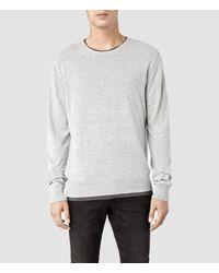 AllSaints Gray Karim Crew Sweater for men