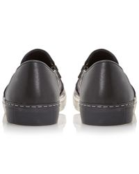 Dune Purple Taxi Cab Double Zip Slip On Leather Trainers for men