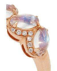 Dana Rebecca | Metallic Lindsay Allison Rose Gold Blue Moonstone And Diamond Ring | Lyst